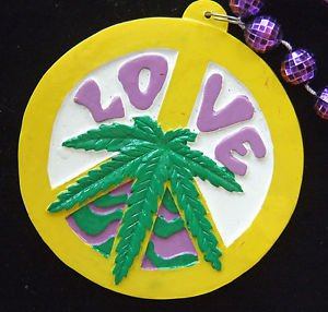 Mary Jane Love Marijuana Peace Sign Mardi Gras New Orleans Beads Party Pot