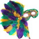Mardi Gras Colors Feather Wand Mask Purple Green Gold Ball Party Costume Prom