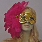 GYPSY GOLD Mardi Gras Mask Feather Party Free Shipping