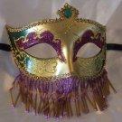 Venetian Mask Veil Purple Green Gold Prom Mardi Gras Masquerade Costume Party