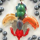Fleur de Lis Seafood Mardi Gras Bead Necklace Oyster Shrimp Crab Red Fish Craw