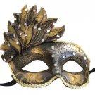 Venetian Mask Cascade Bronze & Gold Mardi Gras Masquerade Costume Prom Party