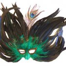 Feather Mask Flame Green Mardi Gras Masquerade Ball Decor Party Prom