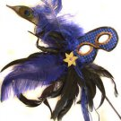 Blue Feather Wand Gold Flower Mask Masquerade Ball Mardi Gras Party Lady