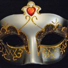 Venetian Mask Black and Gold Red Jewel HALLOWEEN  Party