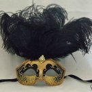 SHOWGIRL OSTRICH Feather Mask Black & Gold SAINTS