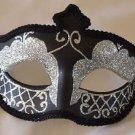 Venetian Eye Mask Black Braid & Silver Mardi Gras Halloween Costume Party
