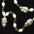Human Skull Glow Eyes Mardi Gras Bead Necklace New Orleans Beads Halloween Party