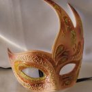 Flame Mask Pink & Gold Costume Prom Mardi Gras New Orleans Masquerade
