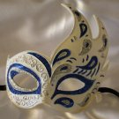 Flame Mask Blue & Silver Costume Prom Mardi Gras New Orleans Party Masquerade