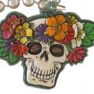 White Skull & Flowers Mardi Gras Bead Necklace Day of the Dead Grateful