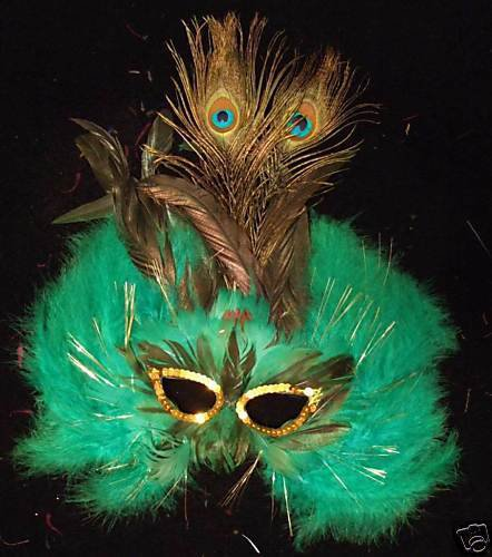 Green Mardi Gras Feather Masquerade Party Mardi Gras