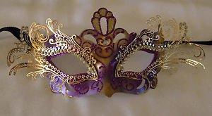 Purple & Gold Metal Eye Mask Venetian Mardi Gras Costume Party Prom Masquerade
