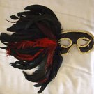 Black with Black & Red Feather Mask Mardi Gras Venetian Masquerade Costume