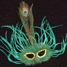Feather Mask Carnival Green Mardi Gras Masquerade Ball Decor Party Prom
