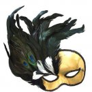Gold Phantom Mask Costume Prom Party Mardi Gras New Orleans Carnival Masquerade