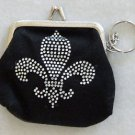 New Orleans Fleur de Lis Change Purse with Key Chain
