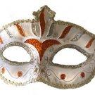Venetian Eye Mask Orange & Silver Costume Prom Party Mardi Gras New Orleans