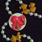 Pink Octopuss Premium Mardi Gras Necklace Luau Beads