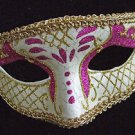 Venetian Mask Hot Pink and White Mardi Gras New Orleans Halloween Masquerade