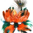 Venetian Feather Mask Orange & Green Masquerade Decor Mardi Gras Halloween Prom
