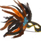 Feather Mask Black with Orange Mardi Gras Masquerade Ball Decor Party Prom