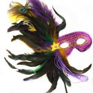 Purple Feather Wand Gold Flower Mask Masquerade Ball Mardi Gras Colors PGG Party