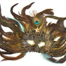 Feather Mask Flame Star Aqua Blue Mardi Gras Masquerade Ball Decor Party Prom