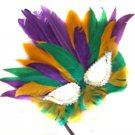 Mardi Gras Color Feather Wand Mask Zulu Queen Halloween Costume Party Mardi Gras