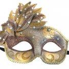 Venetian Mask Cascade Gold & Bronze Mardi Gras Masquerade Costume Prom Party
