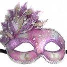 Venetian Mask Cascade Purple & Silver Mardi Gras Masquerade Costume Prom Party