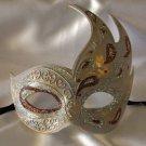Flame Mask Bronze & Silver Costume Prom Mardi Gras New Orleans Masquerade
