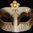Venetian Mask Glitter Mardi Gras Gold Jewel and Ivory