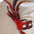 Venetian Stick Mask Climbing Rose Red Mardi Gras Men Costume Prom