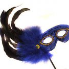 Blue Feather Wand Mask Masquerade Ball Mardi Gras Party Lady Sings the Blues