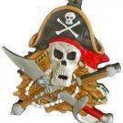 Pirate Skull Crossed Sword & Musklet Mardi Gras Bead Necklace Cajun Carnival
