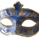 Venetian Eye Mask Dark Blue & Silver Costume Prom Party Mardi Gras New Orleans
