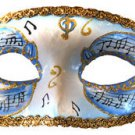 Venetian Eye Mask Blue Musical Score Costume Prom Party Mardi Gras Music