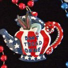 Republican Tea Party RNC Don't Tread on Me Mardi Gras Bead Necklace Tea Party