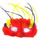 Venetian Mask Red with Streamers Costume Party Feather Mardi Gras Prom Halloween