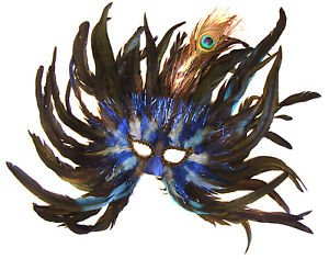 Feather Mask Flame Blue & White Mardi Gras Masquerade Ball Decor Party Prom