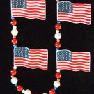 American Flag USA Patriot Mardi Gras Bead Necklace New Orleans Tea Party Pride