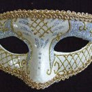 Venetian Mask White and Silver Mardi Gras New Orleans Halloween Masquerade