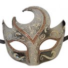 Venetian Eye Mask Swirl Top Gray with Silver & Bronze Mardi Gras Masquerade