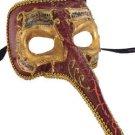 Venetian Mask Zanni Long Nose Burgundy Mardi Gras Halloween Parade New Orleans