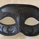 Gothic Black Crescent Eye Mask Venetian Mardi Gras Prom Halloween Costume Party