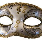 Venetian Eye Mask Silver Musical Score Costume Prom Party Mardi Gras Music
