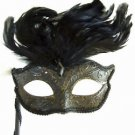 GOTH WAND MASK Black Mardi Gras Carnival Costume Italy Stick New Orleans