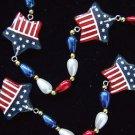 USA Flag Stars Patriot STARS Mardi Gras Bead Necklace New Orleans Beads America