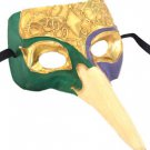 Venetian Mask Zanni Long Nose Purple Green Gold Mardi Gras Costume Party